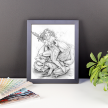 Elf Girl and Frog Framed 8×10 Art Print